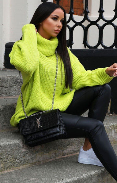 4d8787ae431 Neon Lime Knitted Oversized Polo Neck Jumper - Polly