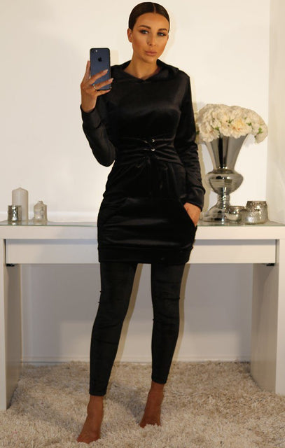 Black Corset Velour Hooded Jumper Dress