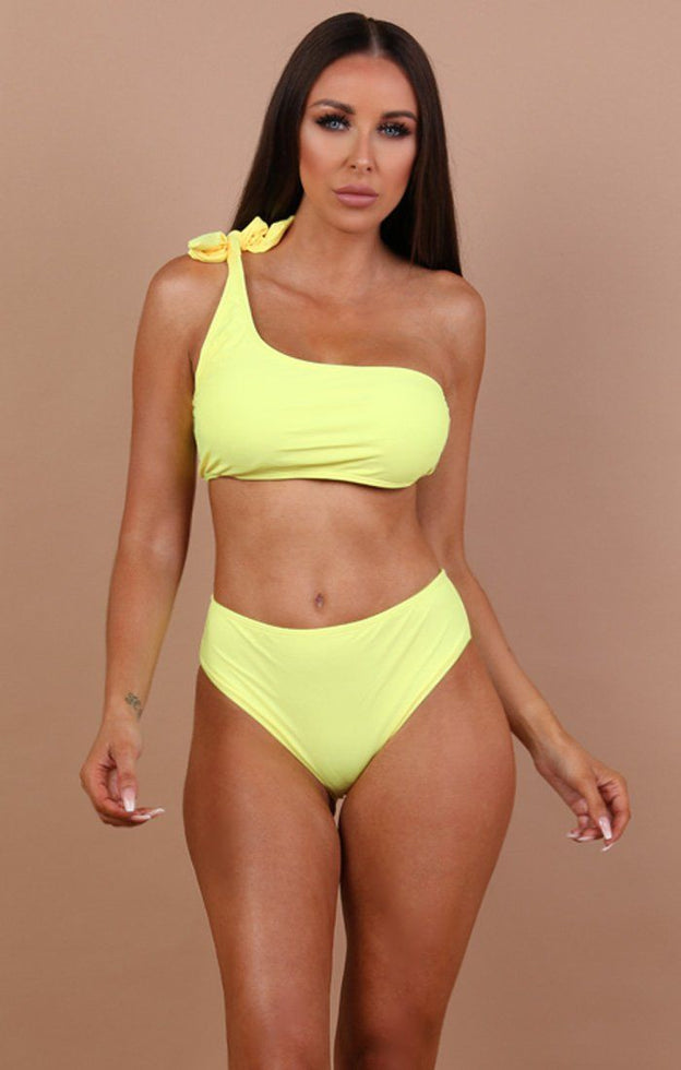 Yellow-One-Shoulder-Bikini-Top
