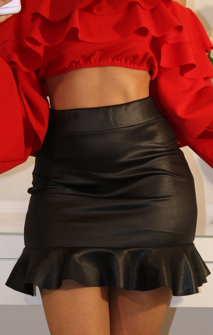 Faux Leather Frill Hem High Waist Skirt