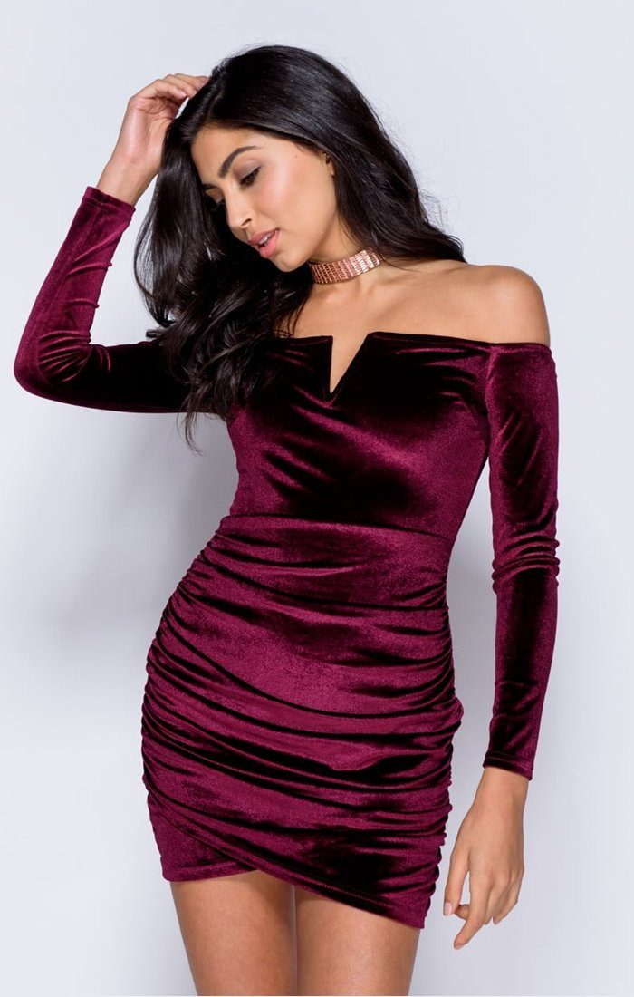 WINE VELVET WRAP FRONT BARDOT BODYCON DRESS