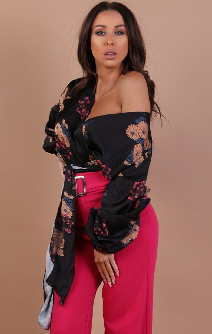 Black Floral Satin Ruched Sleeves Wrap Top – Kelly