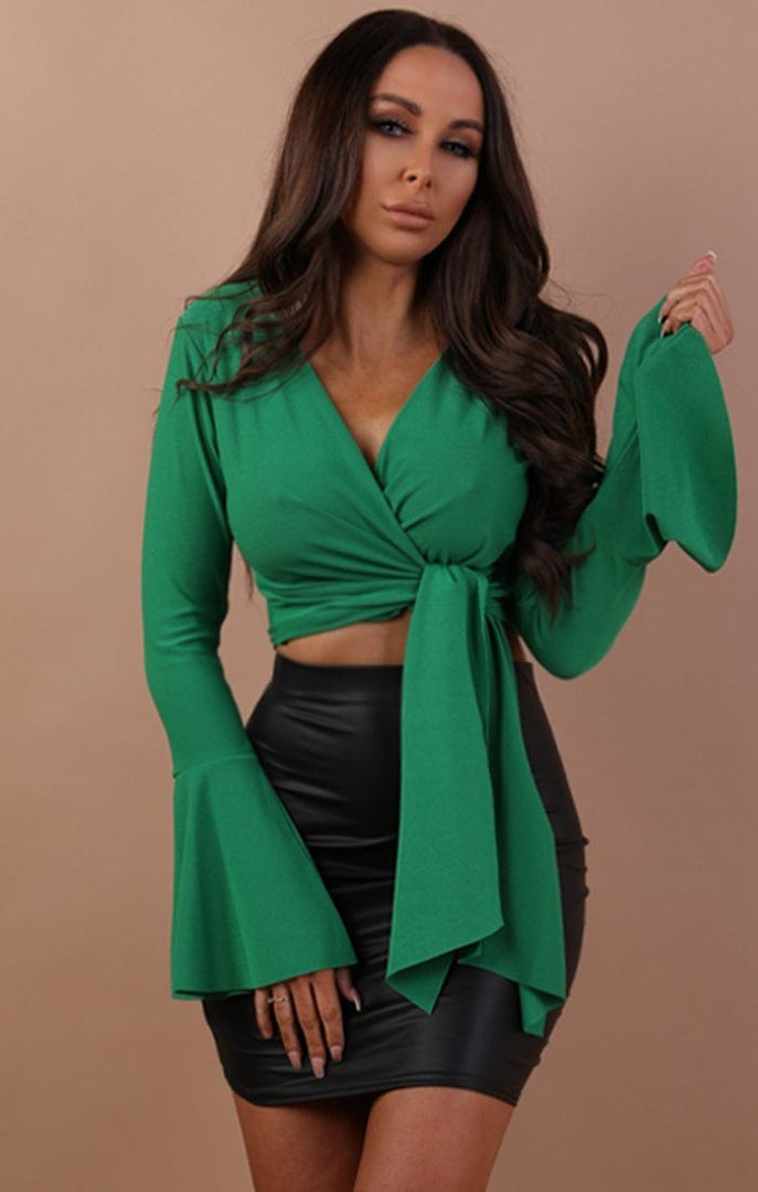 Green-bell-sleeve-wrap-crop-top–Payton