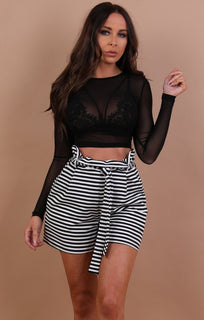 Black-mesh-crew-neck-crop-top-rosi
