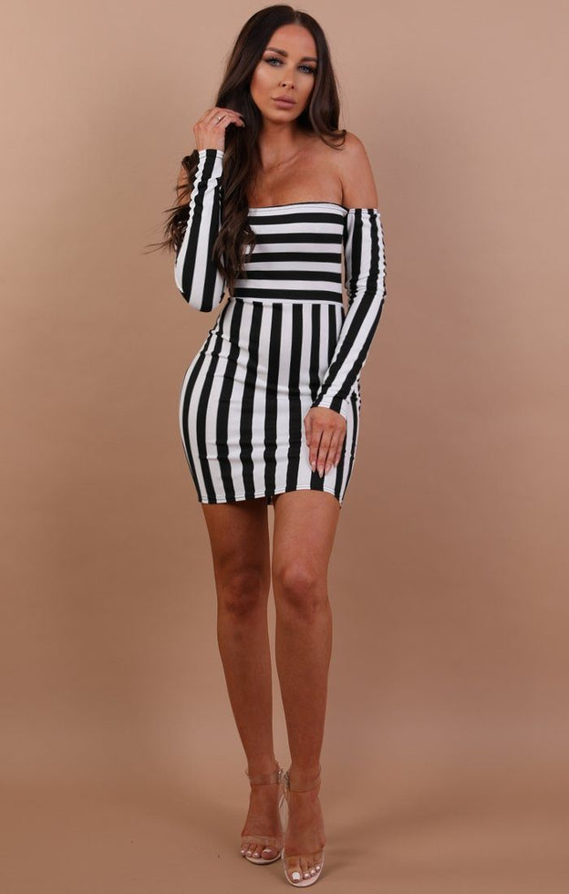Black-and-white-bardot-mini-dress-clara