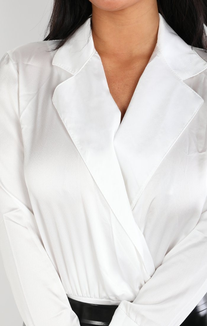 White Satin Shirt Bodysuit