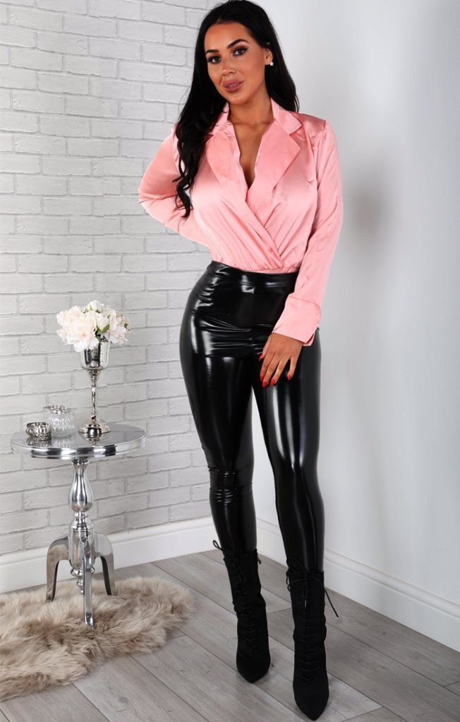 Pink Satin Shirt Bodysuit