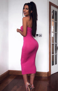 Pink Bandeau Bodycon Midi Dress - Ariana
