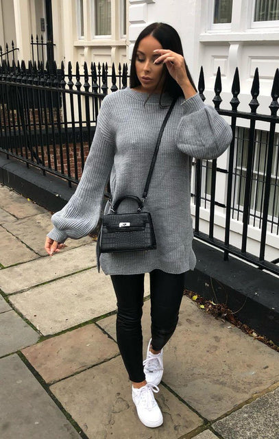 Grey Oversized Split Side Knitted Jumper - Cat