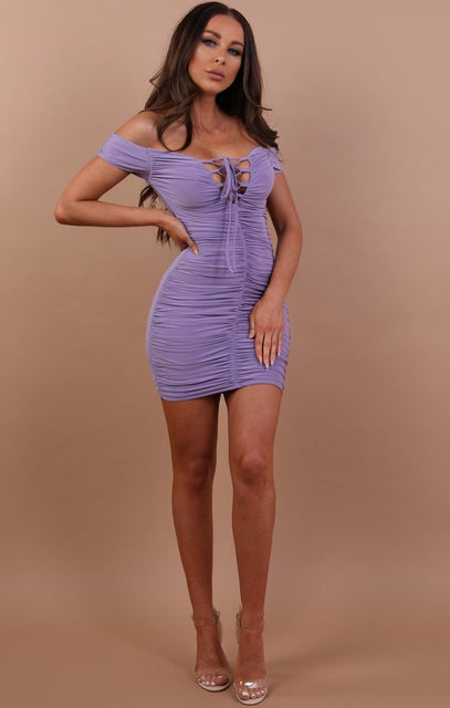 Lilac Slinky Ruched Bardot Dress - Carli