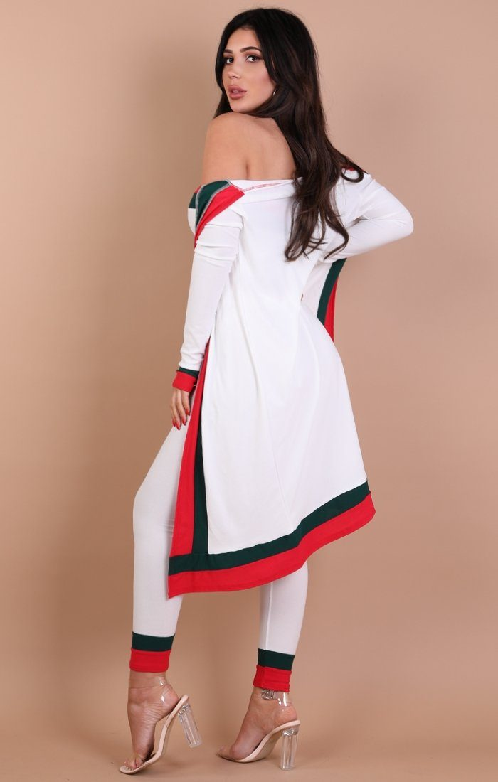 White Red and Green Stripe Longline Cardigan