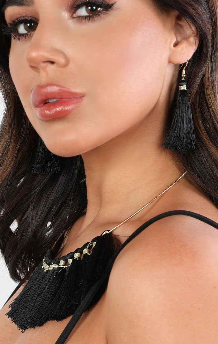 Black Embellished Tassel Earrings And Necklace Set