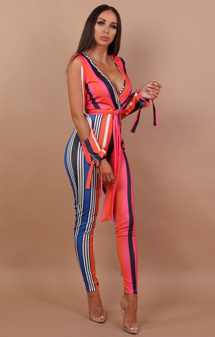 Multi Stripe Belted Jumpsuit - Chelsea