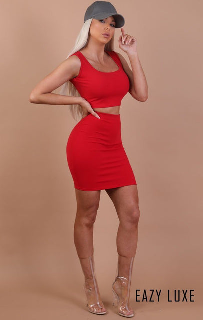 Red Thick Strap Basic Crop Top - Tammy
