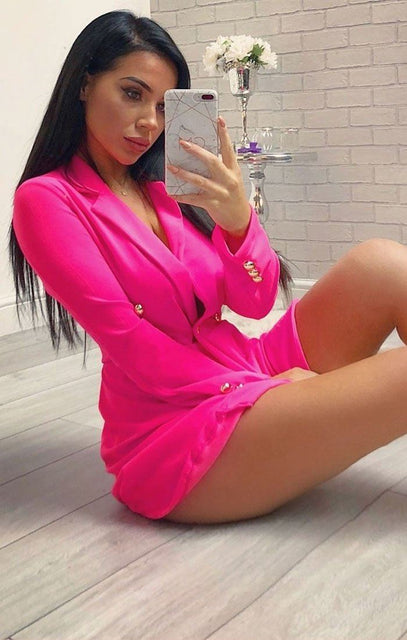 Hot Pink Button Embellished Blazer Dress