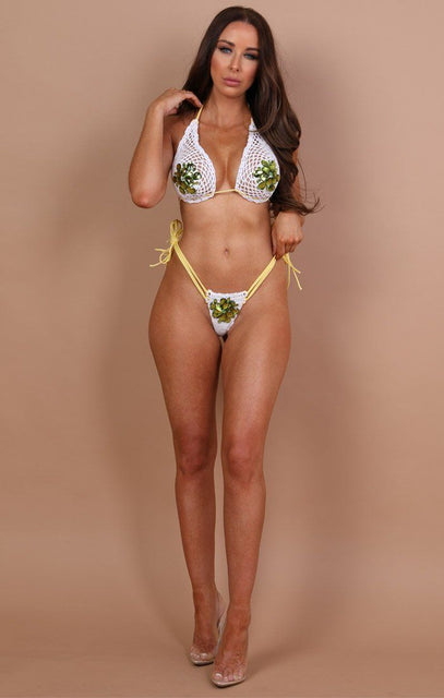 White And Yellow Crochet Bikini Bottoms - Selena