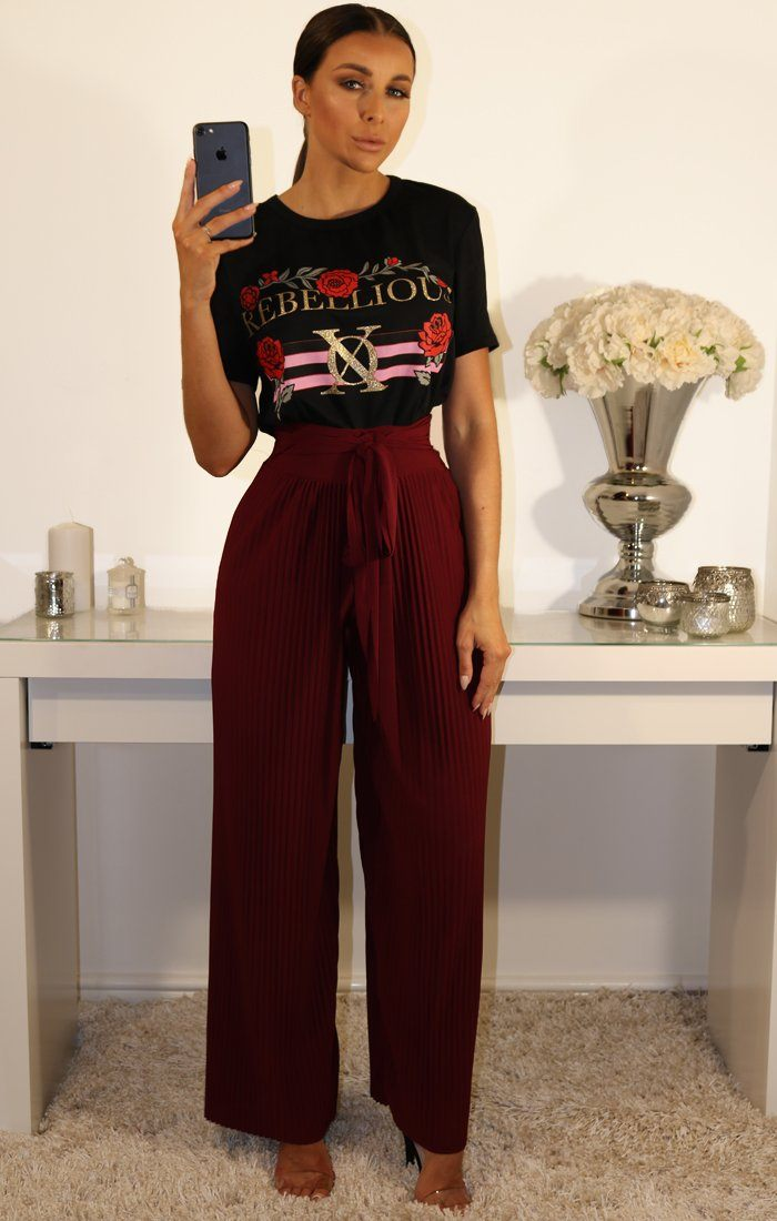 WINE PLEATED WIDE LEG TROUSERS