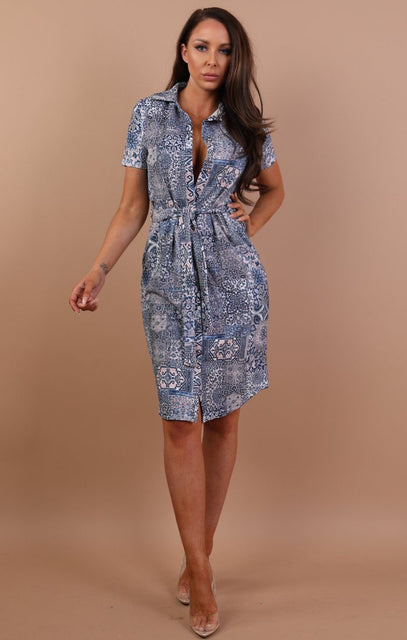 Blue Trismo Belted Shirt Dress - Saphire