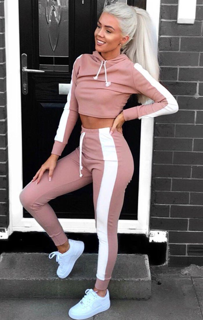 Dusky Pink With White Stripe Lounge Wear Set - Lexi sets Femme Luxe 6