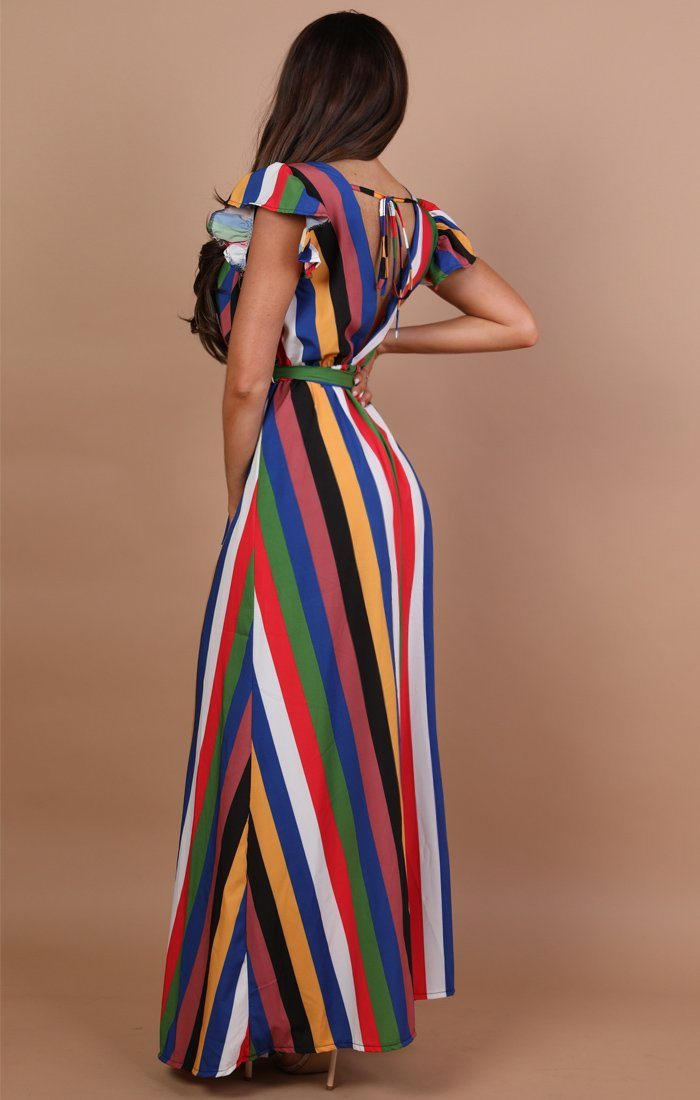 Rainbow Stripe Belted Maxi Dress - Mavi