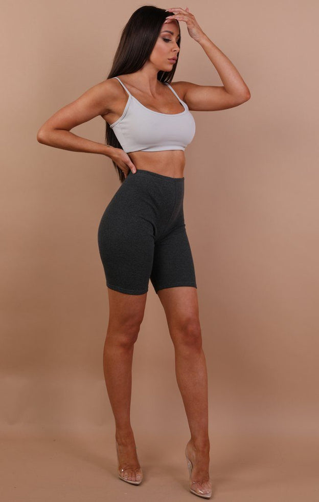 Charcoal cropped basic leggings - Roxanne