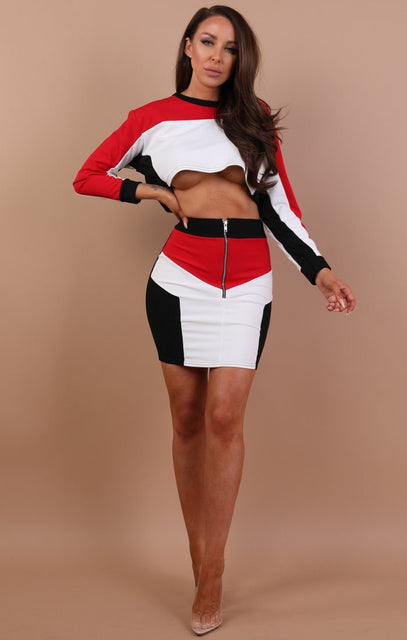 Red Contrast Cropped High Waist Skirt Co-ord - Penelope