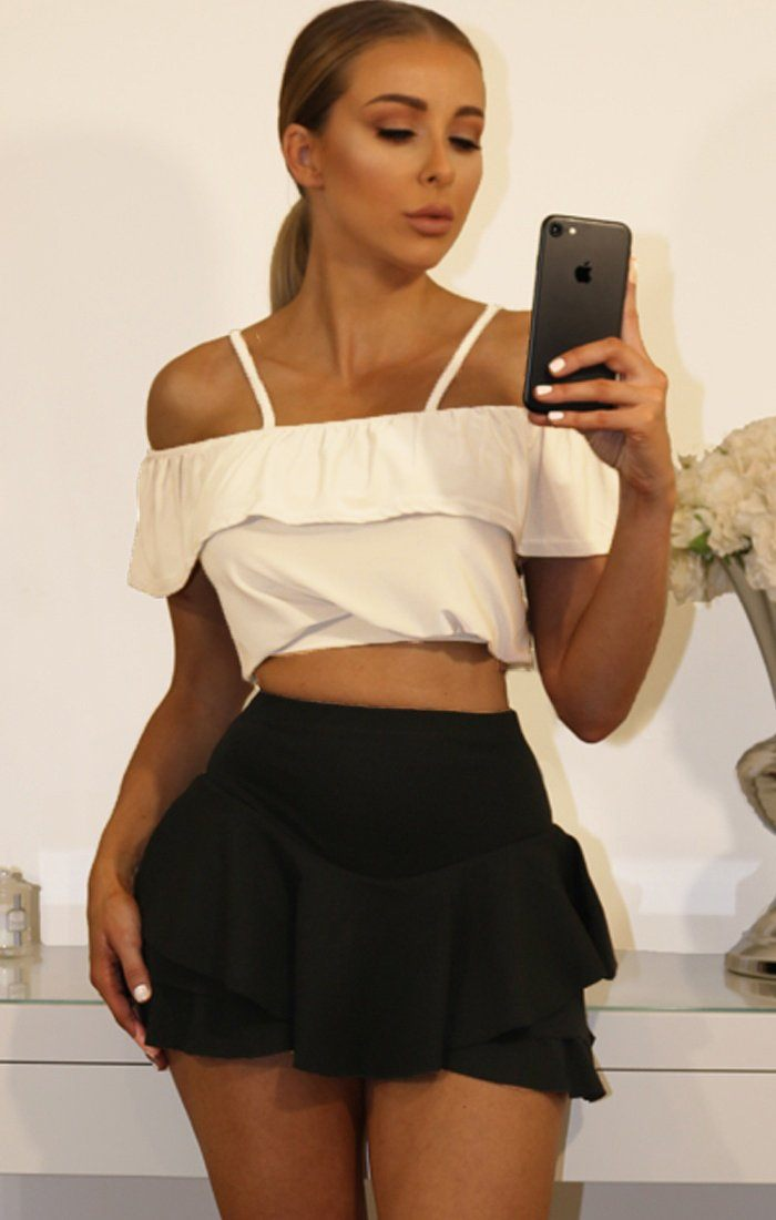 White Cold Shoulder Bardot Cami Crop Top