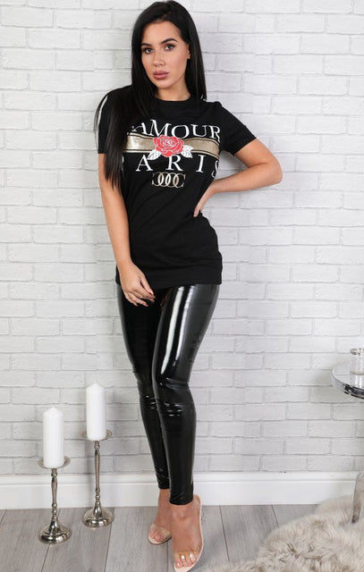 Black L'amour Paris Slogan T-shirt - Kiera