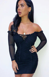 Black Ruched Bardot Lace Up Dress - Alexandra