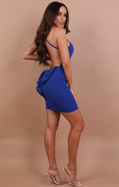 Blue Bow Back Bodycon Mini Dress - Alisha