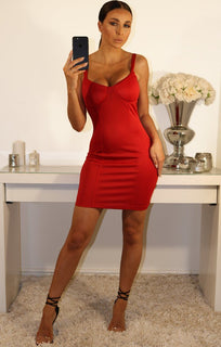 RED CUP DETAIL BODYCON MINI DRESS
