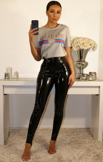 Black High Shine Vinyl PU Trousers