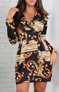 Black-Scarf-Print-Blazer-Dress