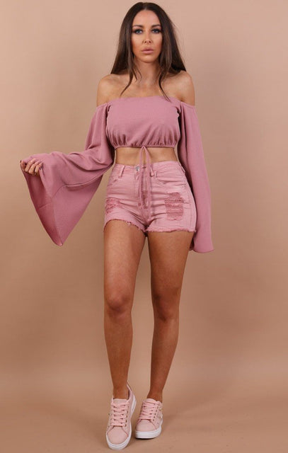 Pink Bardot Flared Crop Top - Fern