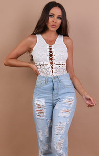 White Cross Lace Up Bodysuit - Lorena
