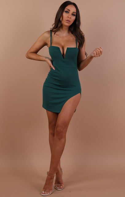 Emerald V Bar Bodycon Mini Dress – Aspen