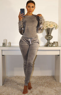 Grey Luxury Velvet Lounge Tracksuit With Eyelet Detail