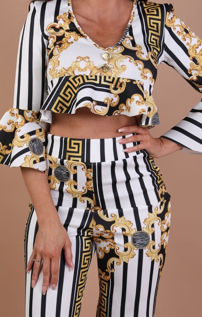 White And Gold Scarf Print Two Piece Co-ord Set – Bethany