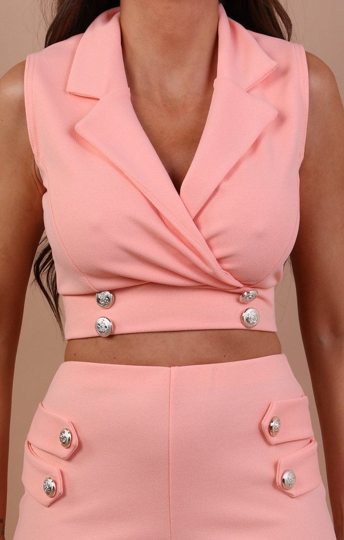 Nude Cropped Blazer Co-ord Set - Ruby