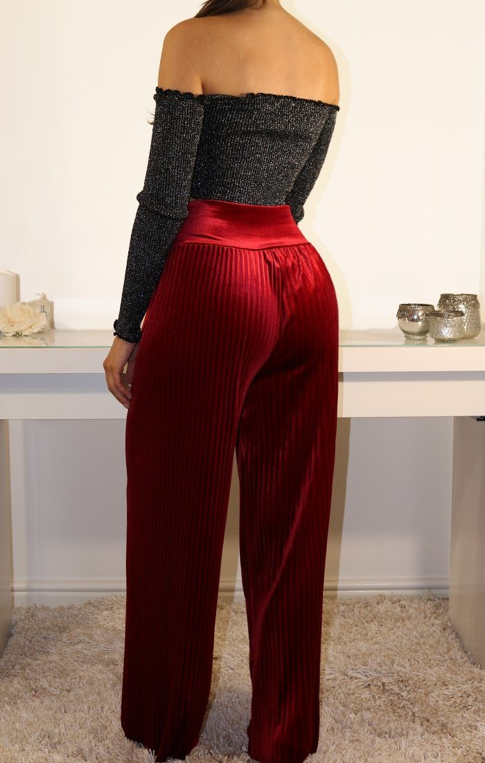 Wine Velvet Wide Leg Trousers
