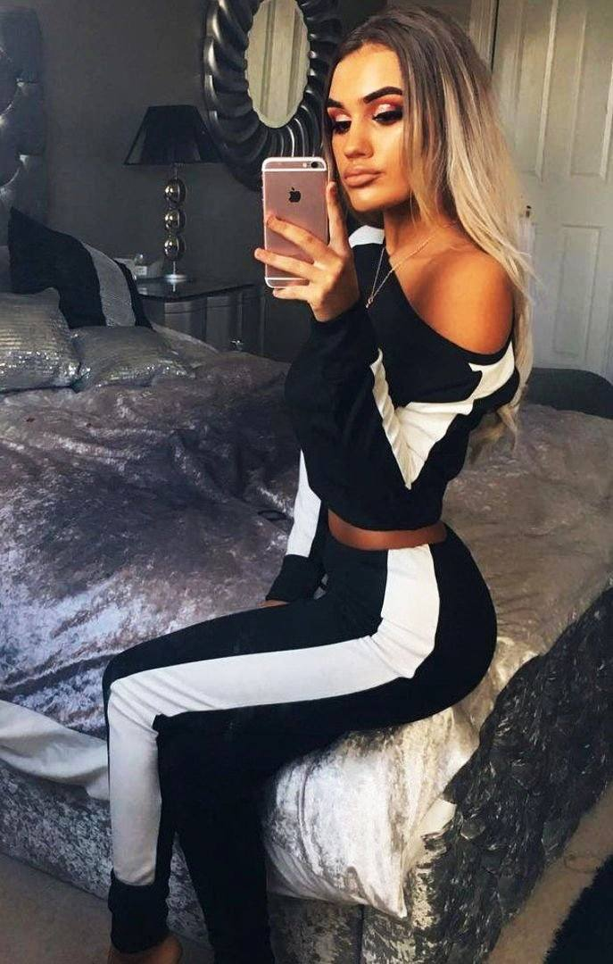 Black With White Stripe Off Shoulder Loungewear Set - Shani