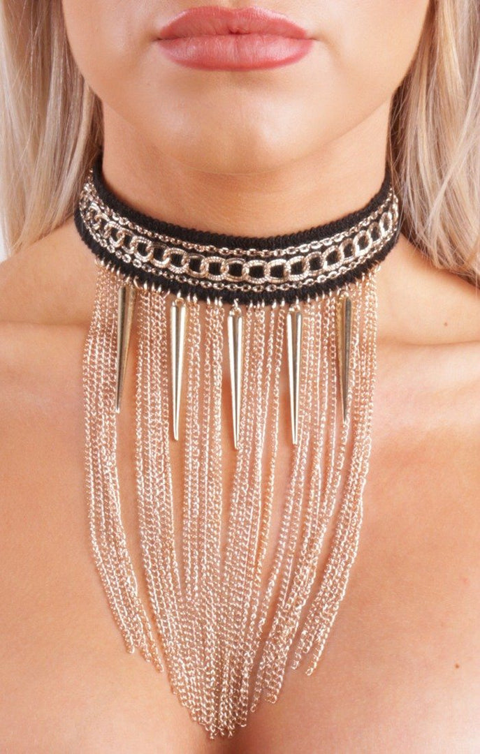 Gold Spike & Chain Luxe Black  Detail Choker