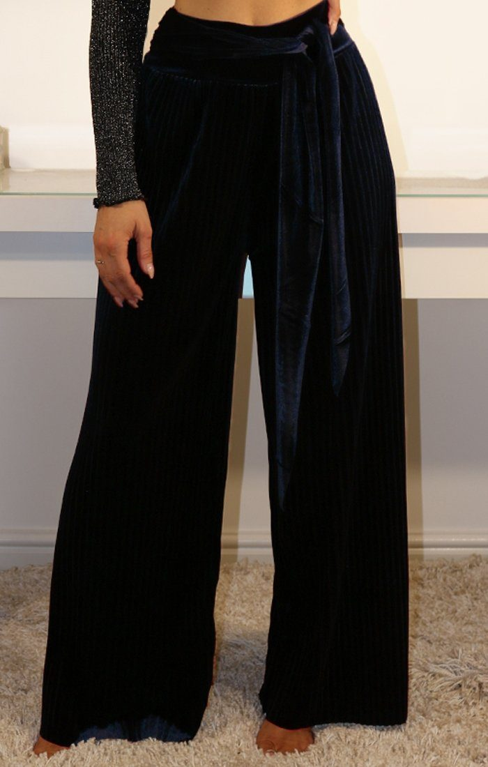 Navy Velvet Wide Leg Trousers