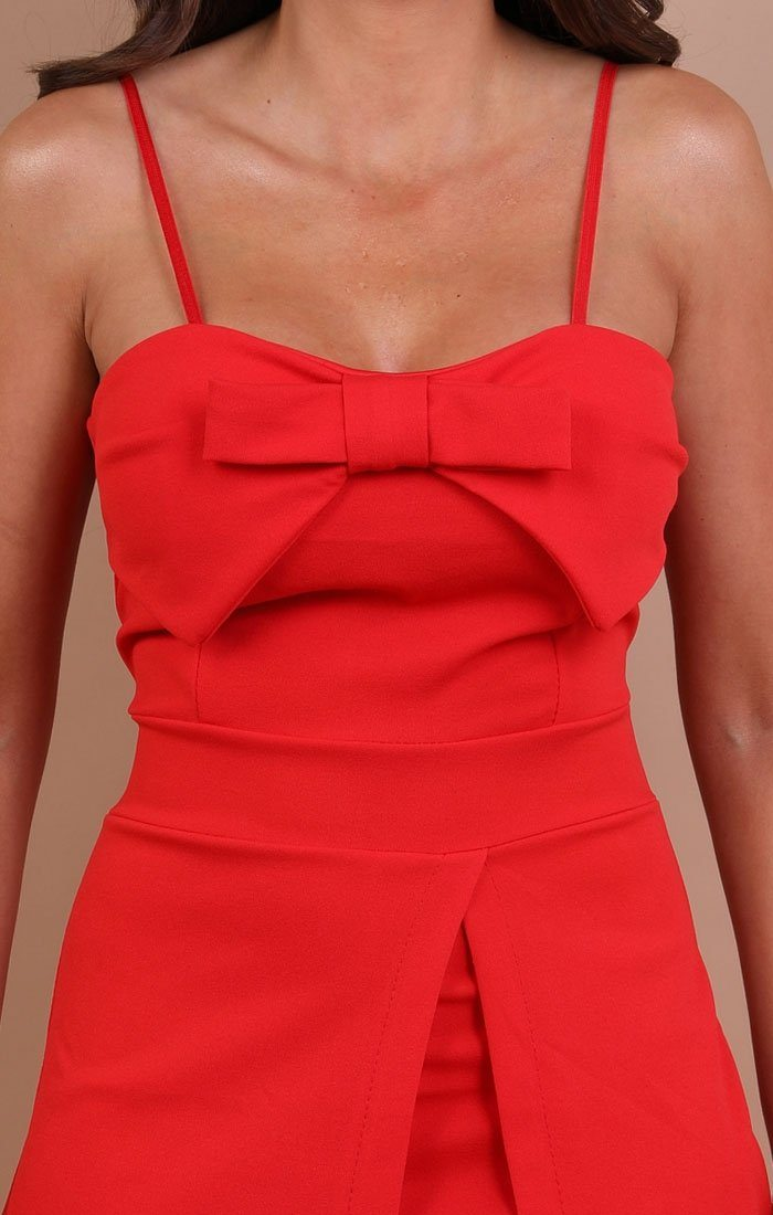 Red Bow Front Playsuit - Amaya