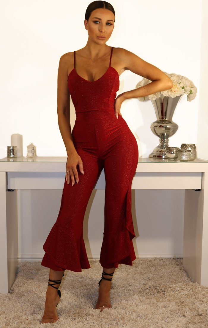 Red Lurex Frill Leg Jumpsuit