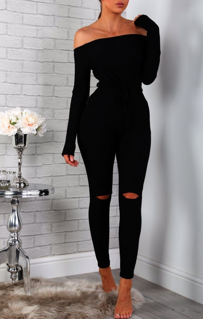 Black Luxury Knit Lounge Bardot Jumpsuit Knitwear Femme Luxe 6