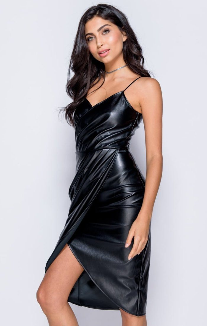 Black Pu Front Wrap Midi Dress