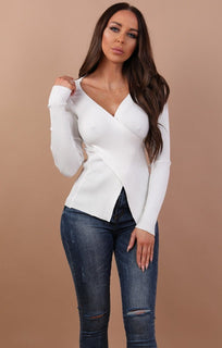 White Cross Front Long Sleeve Top - Cara