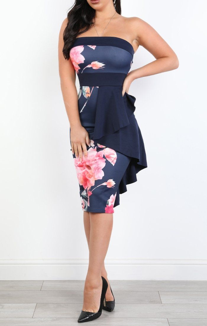Blue Frilled Floral Bandeau Midi Dress - Jenny