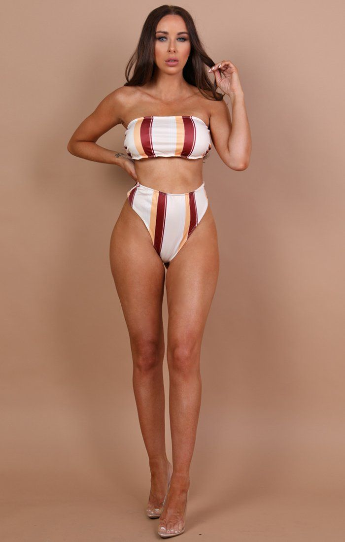 Cream With Stripe Detail Bikini Bottoms - Carla